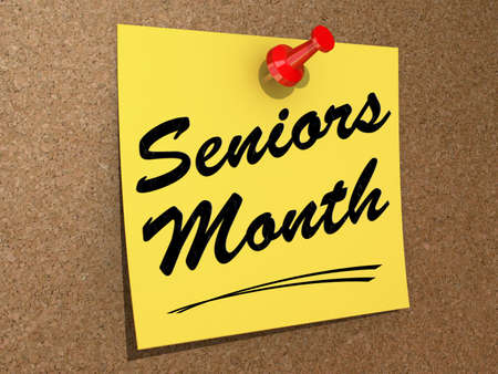 A note pinned to a white background with the text Seniors Month Stock Photo - 19454905