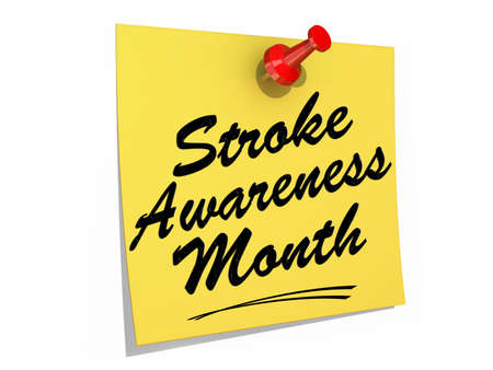 A note pinned to a white background with the text Stroke Awareness Month Stock Photo - 19454903