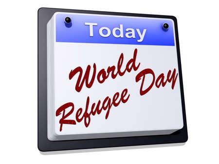 Wereld Vluchtelingen Dag op een bord