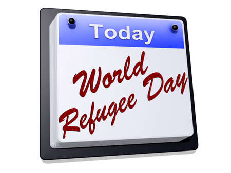 World Refugee Day on a sign  Stock Photo - 19454932