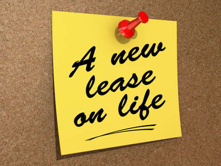 A note pinned to a cork board with the text A New Lease on Life. Stock Photo - 19454937