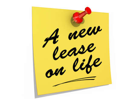 A note pinned to a white background with the text A New Lease on Life. Stock Photo - 19454920