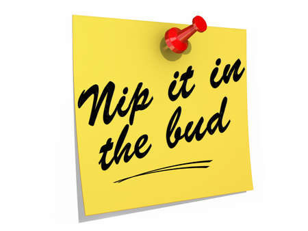 nip: A note pinned to a white background with the text Nip It in the Bud.