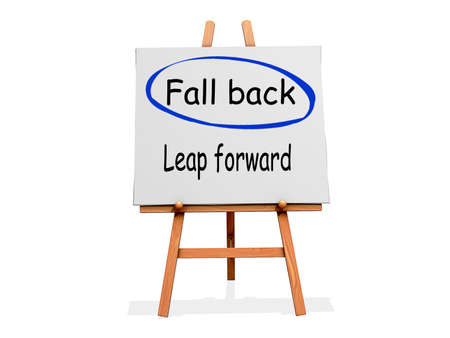 back in time: Fall Back Not Leap Forward on a sign.