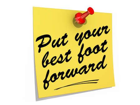 メモは、白の背景にテキストを入れて、最高の足に転送に固定。