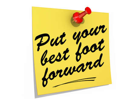 A note pinned to a white background with the text Put Your Best Foot Forward.
