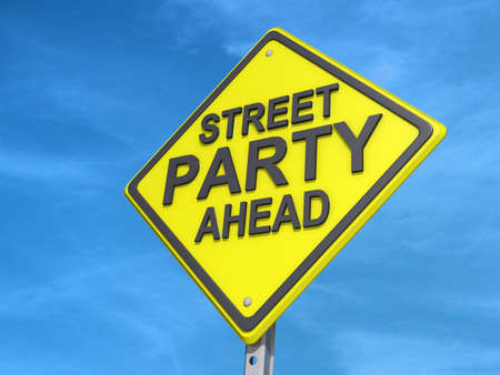 ストリート パーティー収量と収量の道路標識