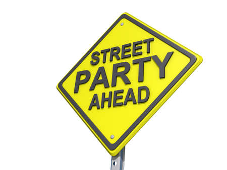 street party: A yield road sign with Street Party Yield