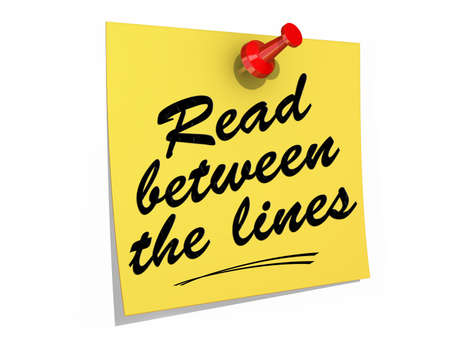 comprehension: A note pinned to a white background with the text Read Between the Lines