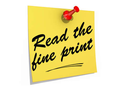 fine print: A note pinned to a white background with the text Read the Fine Print