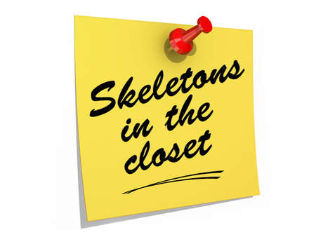 A note pinned to a white background with the text Skeletons In the Closet  Stock Photo