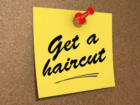 haircut: A note pinned to a cork board with the text Get a Haircut. Stock Photo