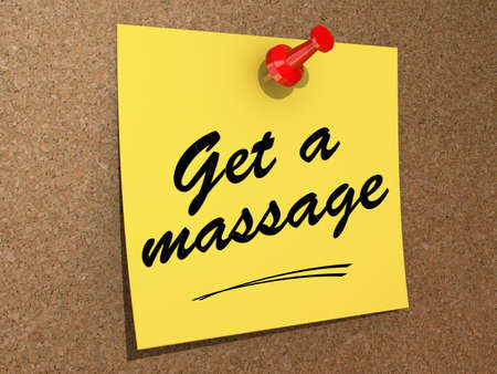 A note pinned to a cork board with the text Get a Massage.