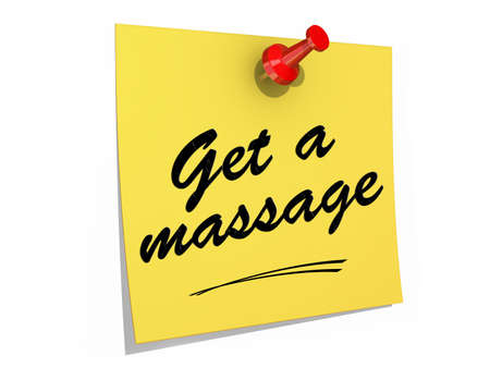 A note pinned to a white background with the text Get a Massage.