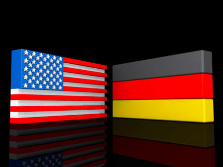United States and Germany on a shiny black background