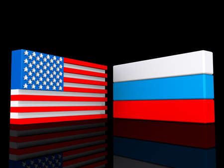 United States and Russia on a shiny black background