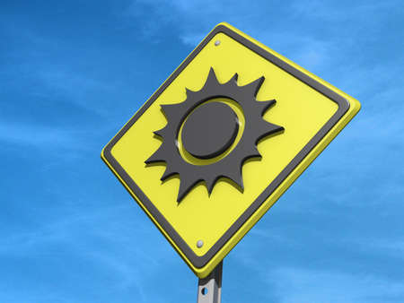 forcast: A yield road sign with a sunny day forcast icon on a black background