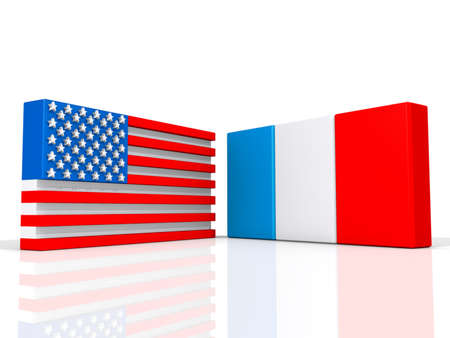 United States and France on a shiny white background