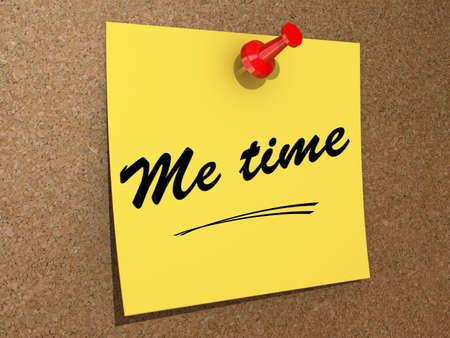 autocuidado: Una nota clavada en un tablero de corcho con el texto Me Time.