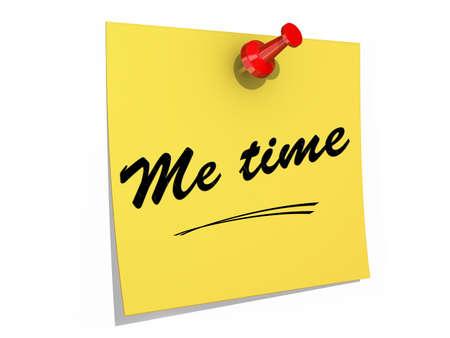 autocuidado: Una nota clavada en un fondo blanco con el texto Me Time.