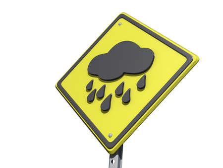白い背景の上の雨の日予報アイコンと収量の道路標識 写真素材