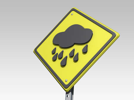 A yield road sign with a rainy day forcast icon on a grey background Stock Photo