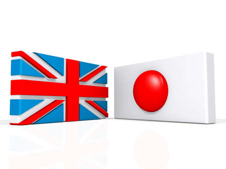 United Kingdom and Japan on a shiny white background.