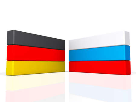 Germany and Russia on a shiny white background  Stock Photo