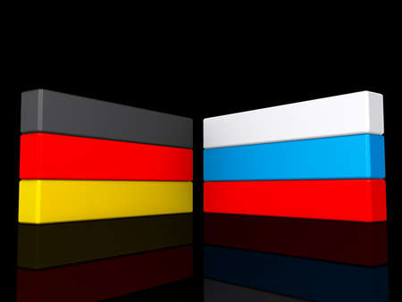 Germany and Russia on a shiny black background  Stock Photo