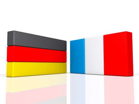 Germany and France on a shiny white background  Stock Photo