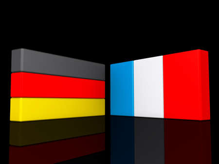 Germany and France on a shiny black background  Stock Photo