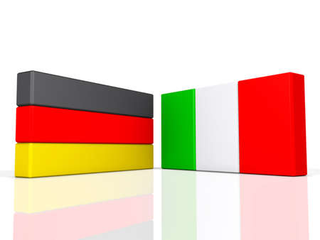 Germany and Italy on a shiny white background