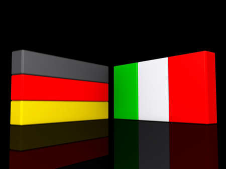 Germany and Italy on a shiny black background