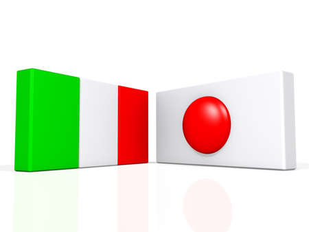 Italy and Japan flags on a shiny white background. Stock Photo