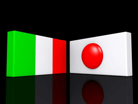 Italy and Japan flags on a shiny black background.