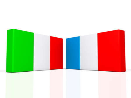 Italy and France flags on a shiny white background.