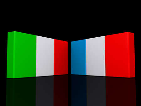 Italy and France flags on a shiny black background. Stock Photo