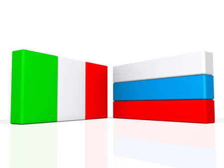 Italy and Russia flags on a shiny white background.