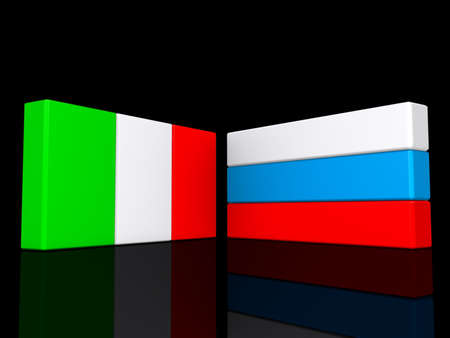 Italy and Russia flags on a shiny black background.
