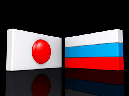 France and Russia flags on a shiny black background  Stock Photo