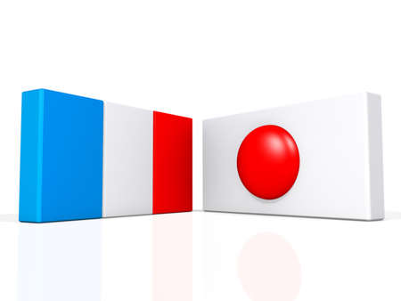 France and Japan flags on a shiny white background  Stock Photo