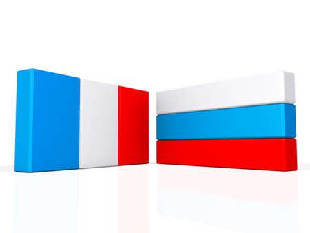 반짝 이는 흰색 배경에 프랑스와 러시아 플래그