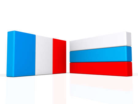 France and Russia flags on a shiny white background