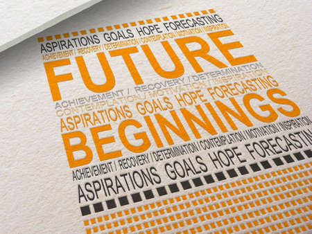 The word Future letterpressed into paper with associated words around it. Stock Photo