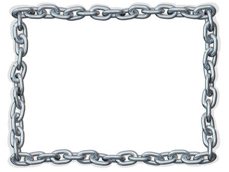 Metal chain shaped in a rectangle on a white background