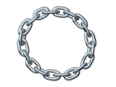 Metal chain shaped in a circle on a white background