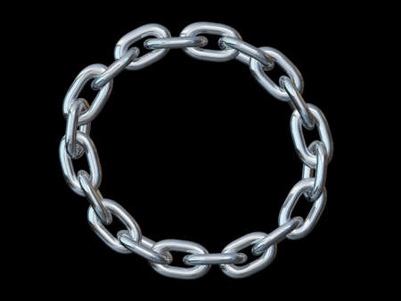 Metal chain shaped in a circle on a black background Stock Photo
