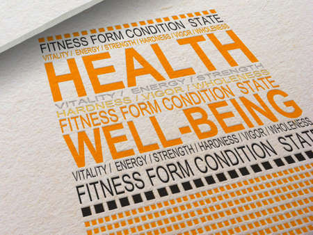 wholeness: The word Health letterpressed into paper with associated words around it  Stock Photo
