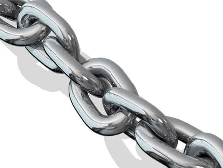 Metal chain links on white background Stock Photo