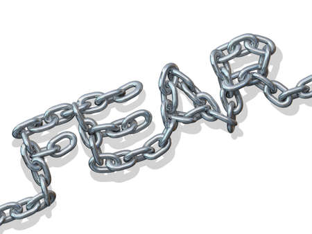 Metal chain link forming the word fear on a white background
